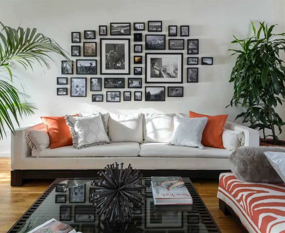 Как повесить фотографии на стену красиво8