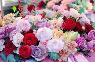 Цветочная композиция из живых цветов0